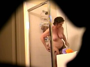 Mature hairy brunette hidden shower cam