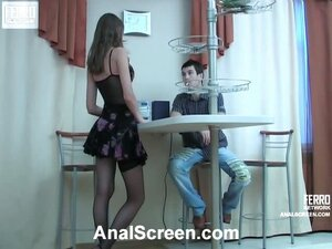 Flirtatious babe spreading her stockinged legs welcoming a guy up her ass