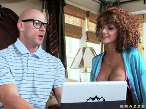 Red-haired MILF with huge tits enjoys webcam sex with her shy neighbor