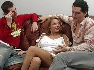 Hot blonde babe in amazing MMF anal threesome