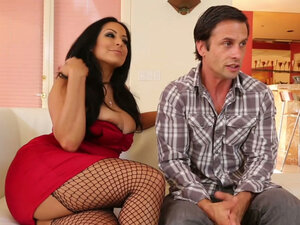 Busty brunette Kiara Mia flirts with new sex partner
