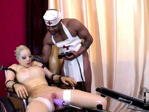 Bodacious babe in latex sucks big black cock and gets machine fucked