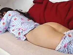 An astounding little teen lays down asleep and her lesbian bud fools around with her