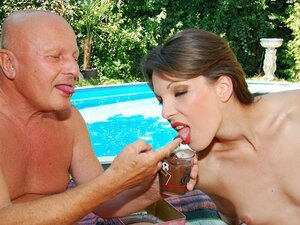 A dirty old man gets lucky and gets to pummel a hot younger babe by the pool