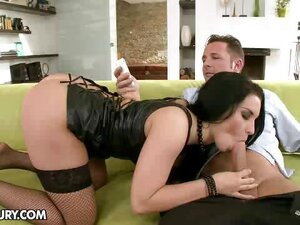 A lush brunette doll enjoys her first double penetration with her work mates