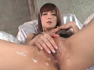 Oiled up Japanese pussy is so hot as she fingers