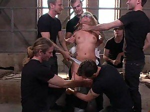 Rough Gangbang In Storehouse For a Hot Blonde Teen