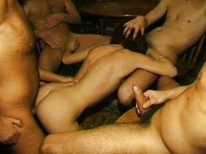 Nasty amateur girlfriend with four cocks and cum
