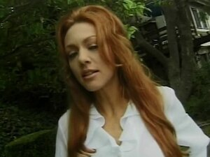 Pussy licking stud fucks redhead and creams her on the chair outside