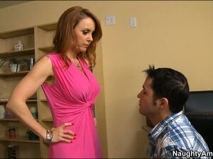 Busty blonde Janet Mason gets felt up, fondled, and her pussy licked
