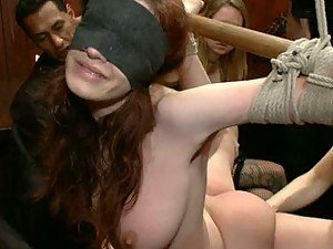 BDSM Gangbang For a Blindfoled Busty Babe