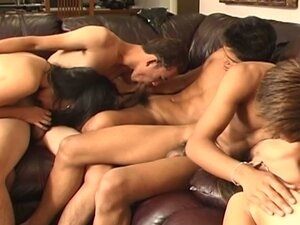 Horny asian bodies colliding in hot bisexual orgy on couch