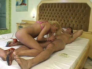 Blonde shemale gives a sloppy blowjob