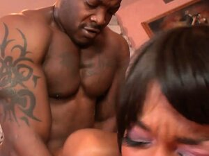 The ebony goddess gets fucked doggy style and rides that black prick with desire