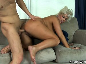 Blonde broad with ludicrously big tits gets fucked balls deep