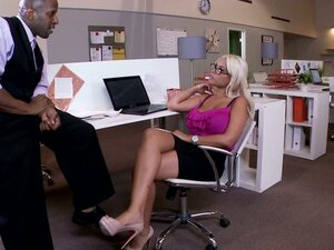 Interracial Sex & Foot Fetish with Big Titty Blonde In The Office