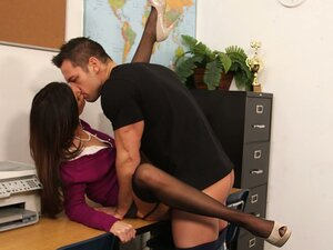Spoiled secretary India Summer gets poked missionary on the office table