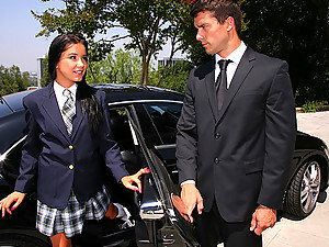 Smokin little teen sucks and fucks daddys limo driver after picking her up from school