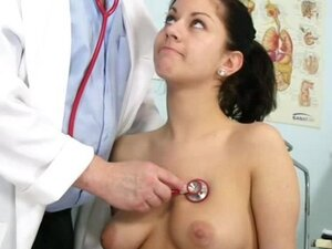 Teen brunette came at the doctor for a naked exam