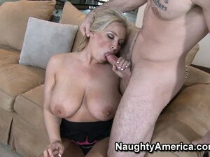 Rachel uses her lips and boobs to get that cock ready to fuck her nice and good