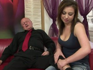 Lucky Old Man Gets Some Help In Cumming From Teen
