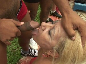 Hairy blonde milf gets a nasty gangbang