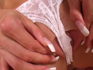Skillful Vanessa with long nails is expert in masturbating