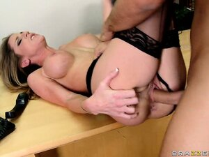 Office slut in black lingerie calls her co-worker and swallows his cum-stick