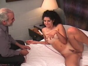 Old dom plays with two young ladies