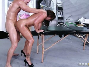 The striking brunette gets her fantasy complete once he cums on her luscious big tits