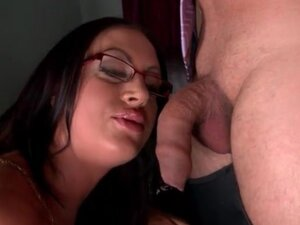 Emma Butt uses her huge tits to seduce him