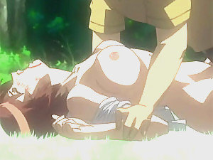 Poor anime babe gets rapped in the forest by stranger