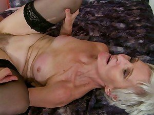 Rampant granny enjoys a rough pussy pounding