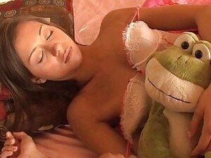 Sleeping brunette teen in teasing lingerie gets boned by mature man