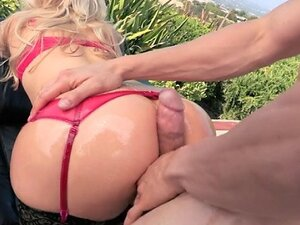 Brazzers - Big-booty blonde is oiled up for some DP