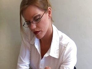 Secretary type gives a harsh handjob
