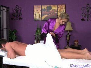 Amazing service woman in purple, silken robe does great massage