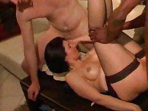 Sexy wife fucked by two men while hubby watches
