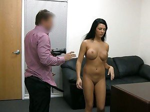 Hot ass babe strips and has sexy fun on casting couch