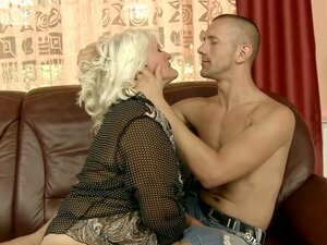 Blonde and Kinky Granny Judi Having Fun with Her Stallion