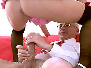 An anal sex loving blonde bitch is happy to be rode by anyone, even creepy old men