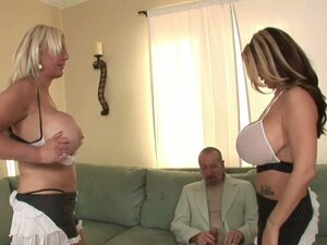 Double blonde bomber boobs Summer & Kayla giving titjob