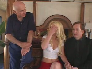 Blonde wife gets fucked by another man in front of eager husband