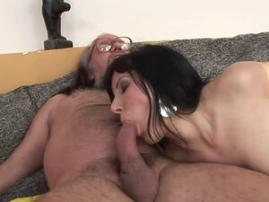 Chubby brunette Nelly Ice gets fucked by some kinky old dude
