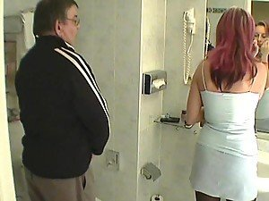 Horny Chick Gives An Old Man A Blowjob
