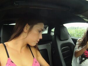 Lezzies getting naked and fucking in their car like there's no tomorrow