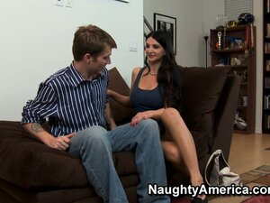 Emma Alba, a hot brunette with big tits, can't resist a young stud with a big dick