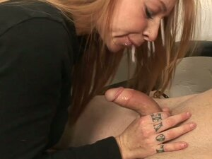 Redheaded babe gives mind blowing blowjob