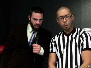 Two wrestling Brazzers models take a break to give head to the referee