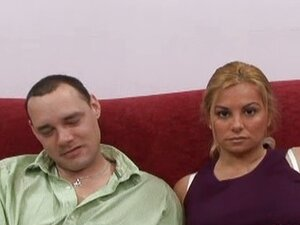 Horny facialized wife in front of her hubby